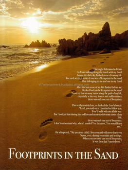 Footprints In The Sand Poster Inspirational Quote 18x24 Buy