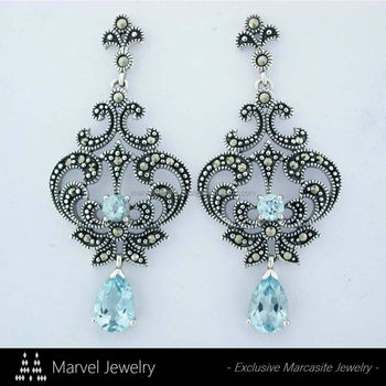 Elegant 925 Sterling Silver Marcasite Chandelier Earrings Jewelry With Blue Topaz