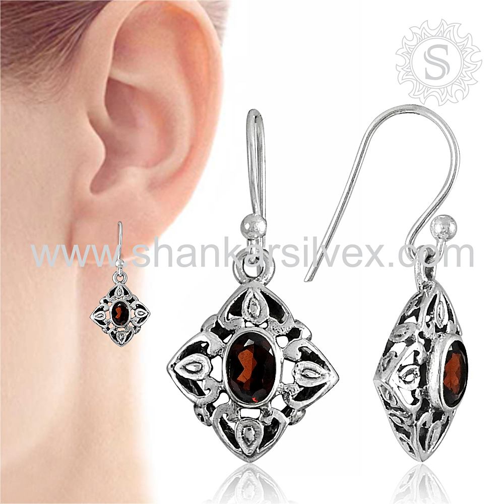 Perfect Selection 925 Sterling Silver Garnet Earring Supplier Antique Gemstone Silver Jewelry