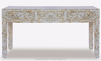White Mother Of Pearl Inlay Console