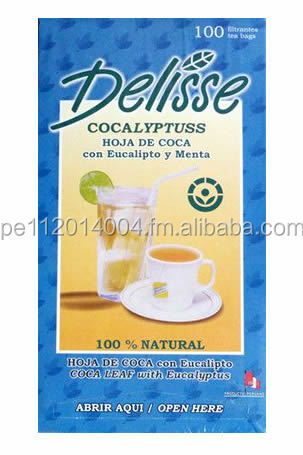 DELISSE - PERUVIAN COCA LEAF TEA WITH EUCALYPTUS AND MINT - BOX 100 UNITS