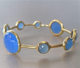 Blue Chalcedony Graduated Round Faceted Metal Alloy Gold Plated Bangle