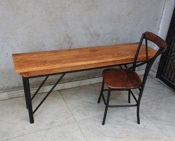 Patio Metal Wood Folding Bench Black