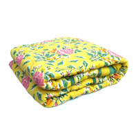 Blanket For New Born Babies Roseline yellow Hand Block Printed 100%cotton quilt