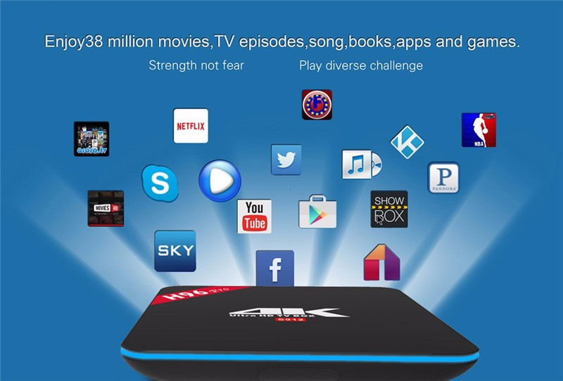Amlogic S912 H96 PRO android 6.0 marshomallow tv box 2gb ram 16gb rom android tv box with KD Player 17.0