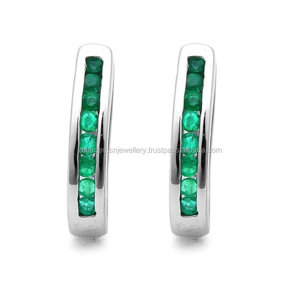 Beautiful 1.00Ct Round Green Emerald Hoop Earrings Crafted in 9k White Gold .