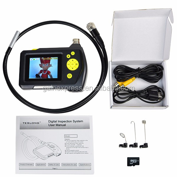 Digital Handheld Endoscope 8.2mm Digital Waterproof Inspection Camera System 1 Meter Cable 2.7inch Screen Monitor