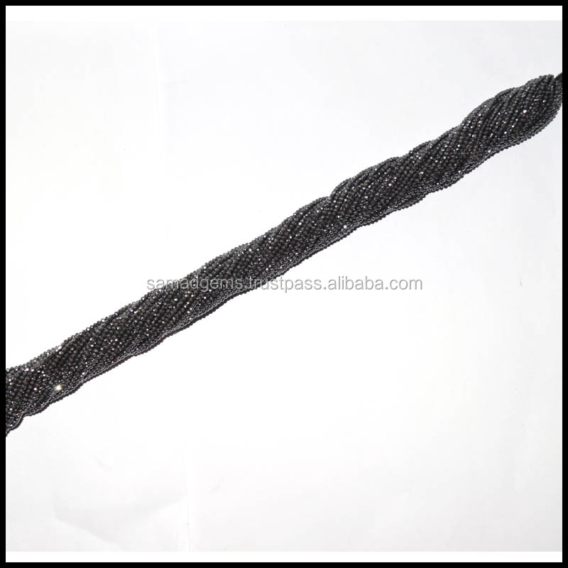 """14 TO 16' APPROX STRAND 2.5 MM BLACK MAGNETIC AMAZING~ HEMATITE FACETED BEADS GEMSTONES"