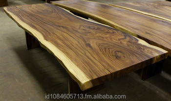Spectaculer Live Edge Conference Table Slab Acacia Wood Natural Grain Free Form Metal Legs