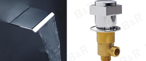ברז מפל שלושה סטים של סגנון פשוט בקיר-אגן מיקסר אמבטיה ברז מים, ברז מיקסר ברזים ברזים מודרניים LT-301B