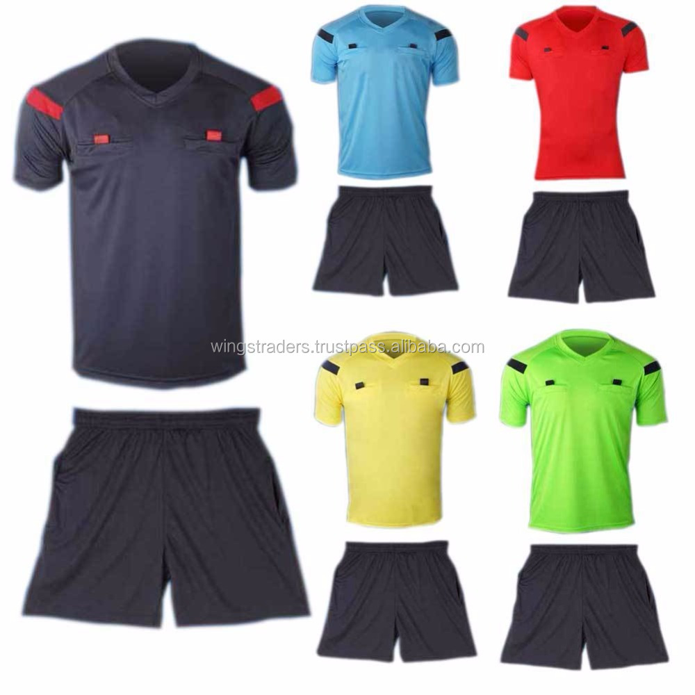 6f4607fe6 Man's Soccer Football Referee Jersey Short Sleeve Shirt & Shorts Uniforms