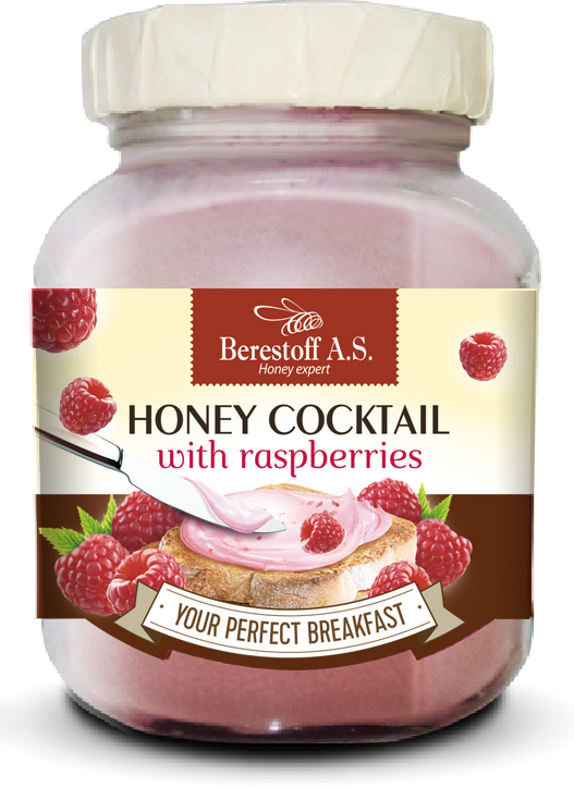 "Honey ""Berestoff A.S"" with additives ""Honey cocktail with RASPBERRIES"", GLASS 450g"