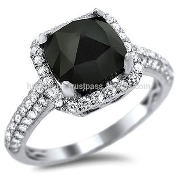 Rare Sizes Black Diamond Ring14k White Yellow Gold Engagement Ring Est