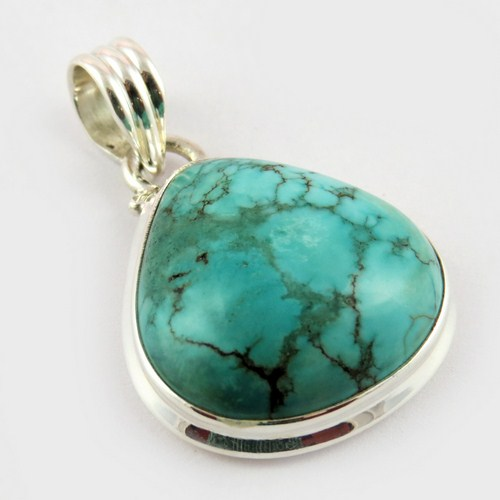 Good Purity !! Turquoise 925 Sterling Silver Pear Shape Pendant, Gemstone Silver Jewelry, 925 Silver Jewelry