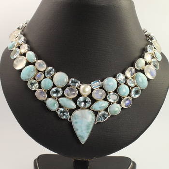 necklace jewelries Natural LARIMAR & BLUR TOPAZ Gemstones Unique Collection 925 Sterling Silver statement necklace