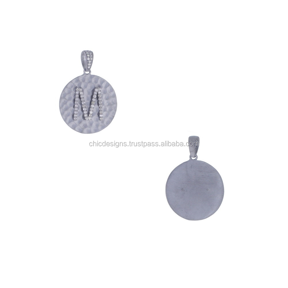 Trendy Fashion Letter M Pendant, Pave Diamond 925 Sterling Silver Disc Jewelry