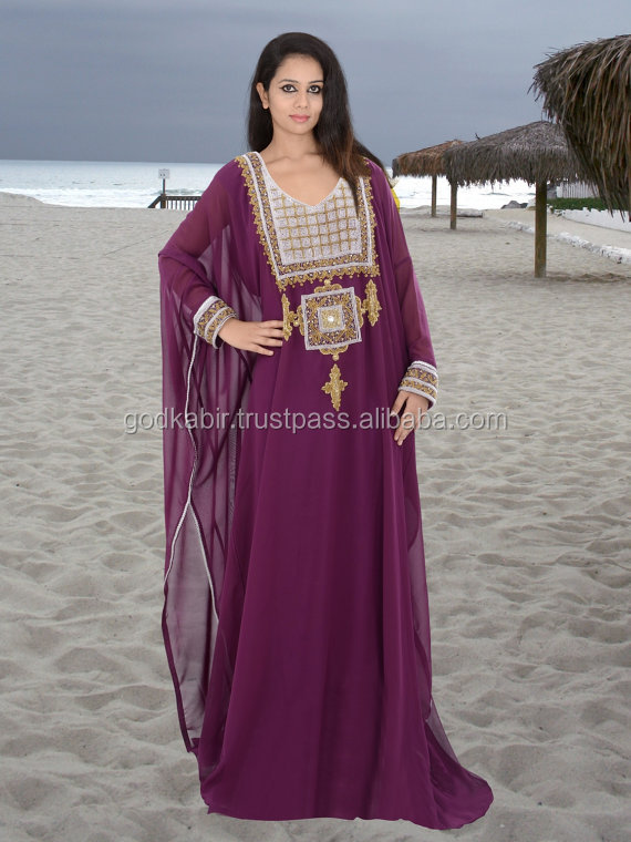 Top Market Selling HI FASHION Beach luxury beaded tunic chiffon./Dubai very fancy kaftans / Abaya Jalabiya Ladies Maxi Dress .