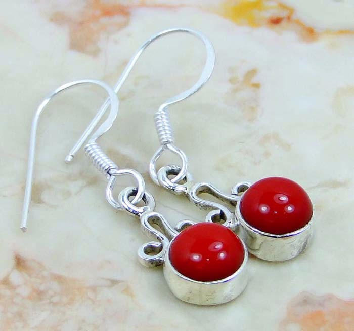 Indian Natural Red Coral Handmade Silver Earrings