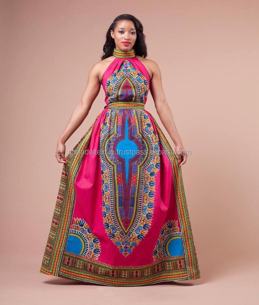 Women Sleeveless African Dashiki Print Party Casual Kaftan Long ...