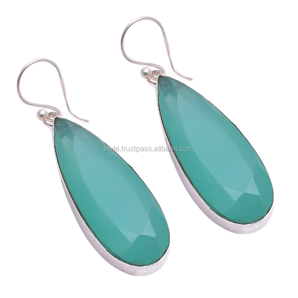 925 Sterling Silver Earrings, Natural Chalcedony Quartz Gemstone Jewelry, Factory Price Jewelry