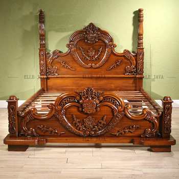 Bedroom Furniture Wooden Bed King Size Hand Carving Elegant Style