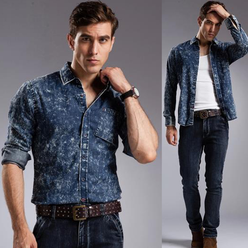 9833825bea7 2017 denim shirts - Popular Acid Wash Denim Shirt mens denim casual shirts