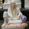 White Stone Shirdi Sai Baba God Statue