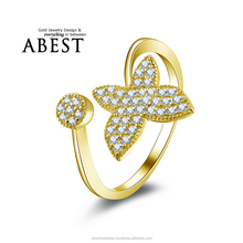 Fancy Butterfly Beautifull Ring 10K Yellow Gold Micro Pave Stones Simple Wedding Ring Lady's Fashion Jewelry Ring