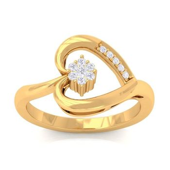 Real Diamond Heart Engagement Ring In Yellow Gold