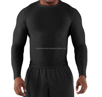 Poly / Lycra all Plain Black Long Sleeve Round Neck Compression Shirt