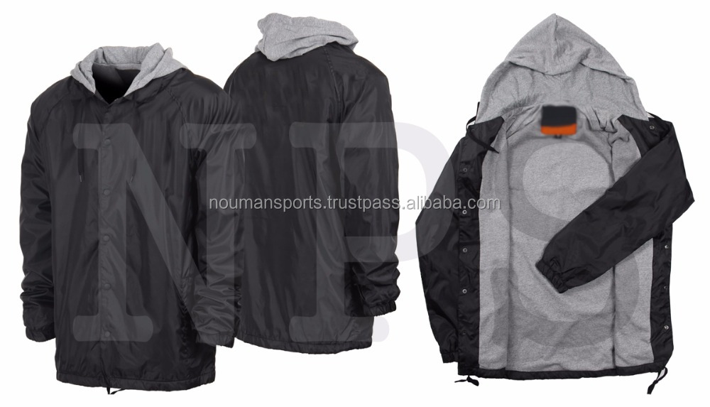 Hooded coach jackets with customized designs , wholesale coach jackets with fixed hood