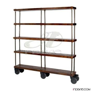 Industrial Bookshelf With Wheels Vintage Wooden Shelving Bookcase Shelves