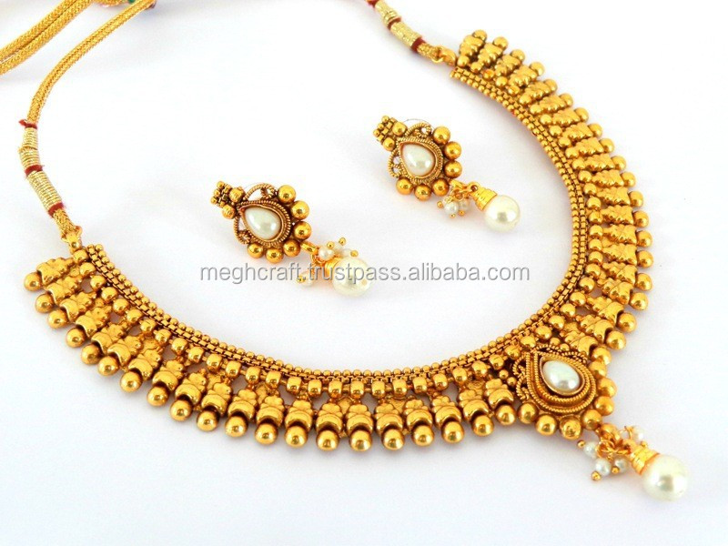 South Indian Style Wedding Wear One Gram Gold Platted Jewelry Set