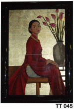 Vietnam Girl with Ao Dai and Lotus Lacquer Paintings, Wall Art Lacquer Paintings, Hand-painted In Vietnam