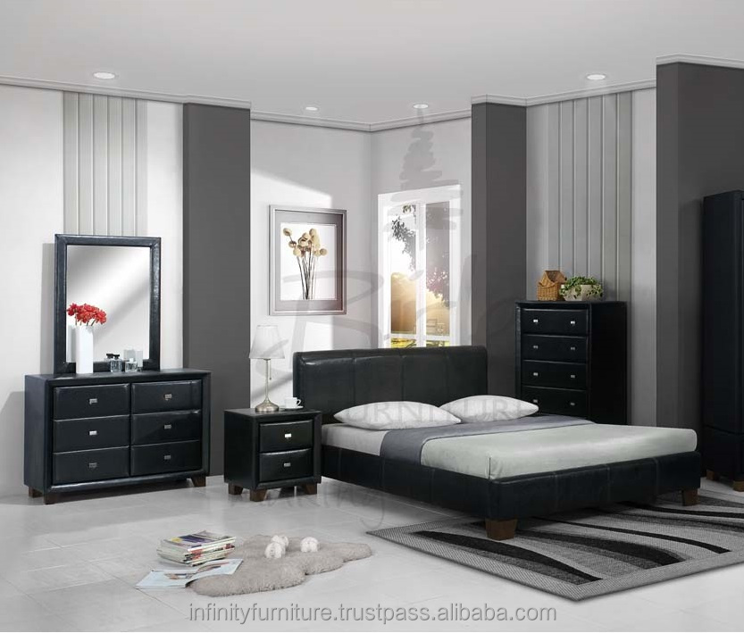 2017 moderne chambre coucher d 39 ameublement lit night stand commode king size reine. Black Bedroom Furniture Sets. Home Design Ideas