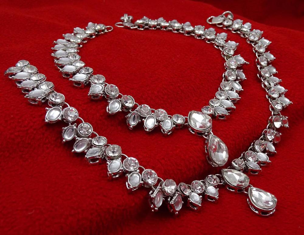 Indian Women Wedding Ankle Bracelet Payal Silver Tone Barefoot ...