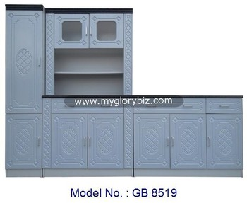 Antique Kitchen Cabinet Set For Home Furniture, PVC Membrane Kitchen Cabinet  With Simple Designs,