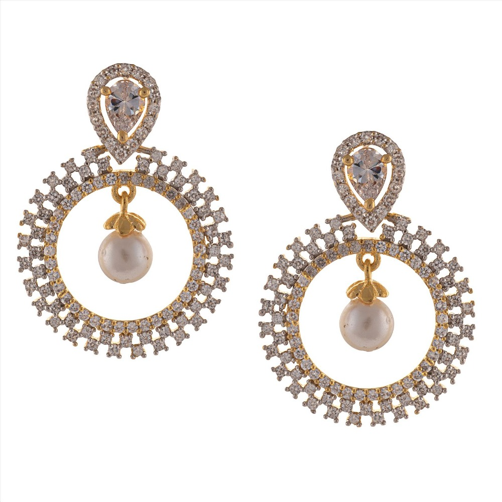 Zephyrr Fashion American Diamond Gold Dangle & Drop Earrings with Pearls