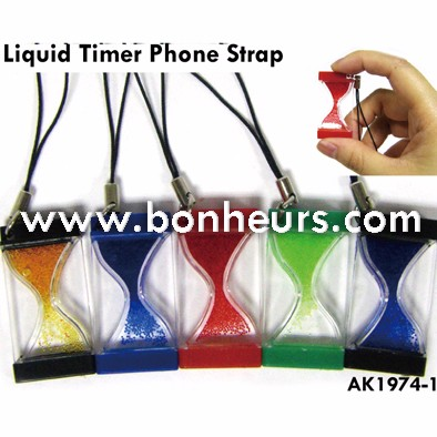 New Novelty Toy Flat Liquid Sand Timer Phone Strap