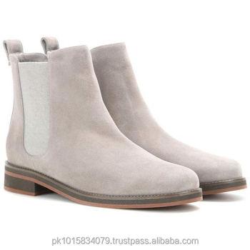 744239ad7 Light Grey Suede Botas Chelsea Couro Sola De Madeira - Buy Light ...