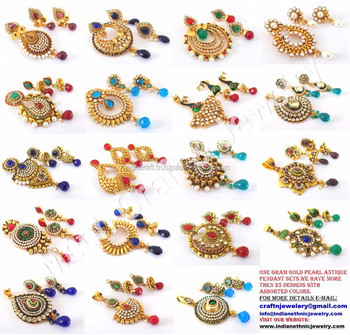 2015 New Wholesale Indian Ethnic One Gram Gold Pendant Sets Pearl Jewelry South Indian