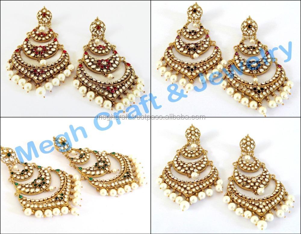 Dangling Indian Traditional Earrings Whole Kundan Handmade Pearl Chandelier Punjabi Stani
