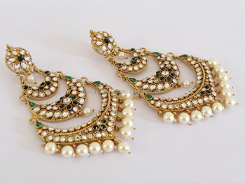 Oversize Long Stani Bridal Gold Plated Cz Stone Chandelier Earrings Whole Traditional Indian Jewellery
