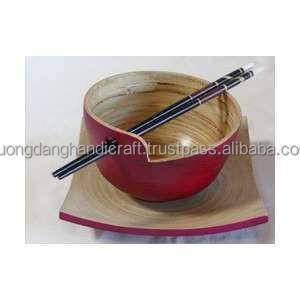 Rote Bambus Schussel Mit Und Holly Fur Stabchenhalter Und Platte Fur