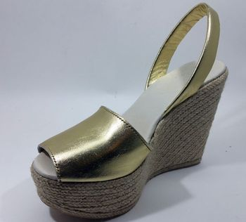 3c5f5bab589 Lady s Leather Sandal With Natural Fiber Platform Sole Espadrille ...