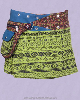 Ginger Brown Shade Trivial Print Cotton Fabric Gypsy Wrap Around Skirt With Bag Belt HHCS 140 D