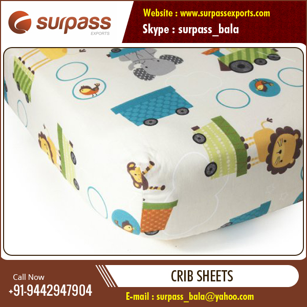 Hot Sales 100% Cotton Extra Soft, Breathable Crib Sheets