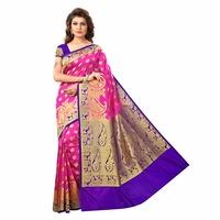 Pink And Purple Silk Saree