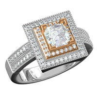 Real Gold Squre Shape Design Solid Gold Jewelry