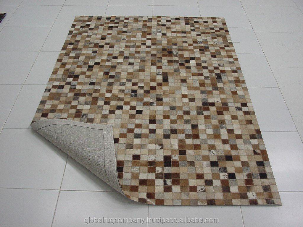 Natural de la india patchwork de cuero de vaca tapetes y for Alfombras de cuero